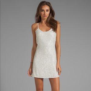 Parker Kate beaded mini dress white